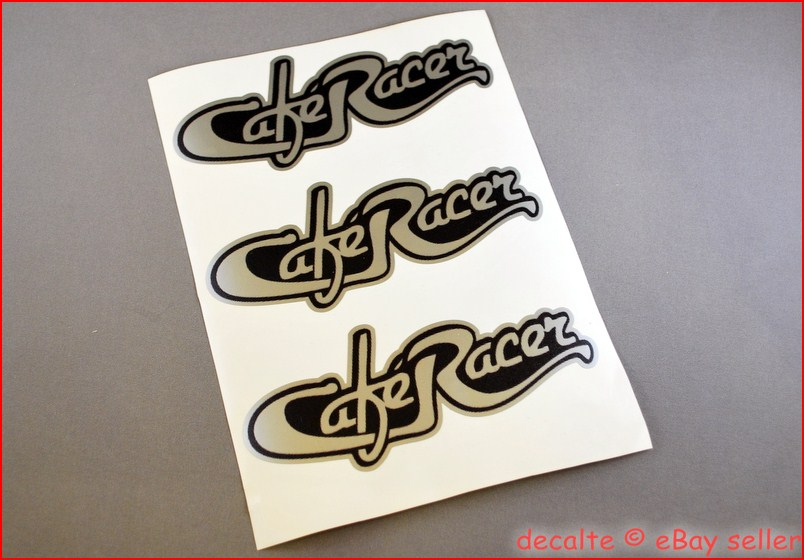 cafe racer script style silver decals logos stickers ducati norton